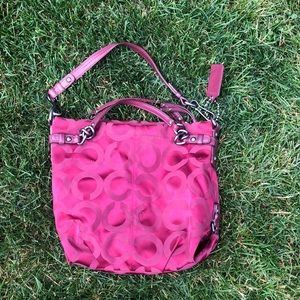 Maroon coach bag comes with dust bag